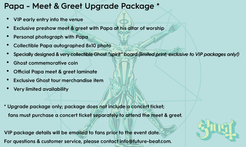 Ghost vip packages now available for north american tour dates vip includes the following m4hsunfo