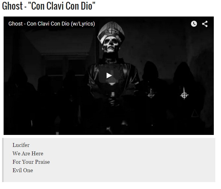 Ghost Featured In Metal Injection's 10 Songs For Satan