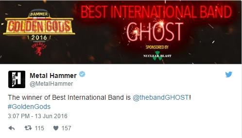 "Ghost Wins ""Best International Band"" At Metal Hammer's Golden Gods Awards"