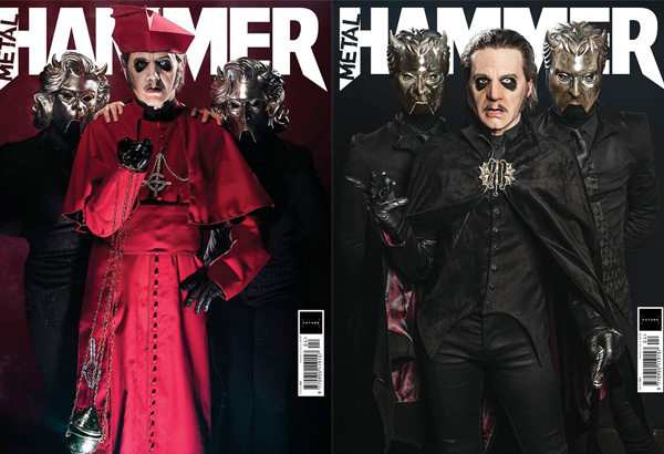 Ghost On The Cover of Metal Hammer's Latest Issue With Two Covers. Includes Art Print And Stickers